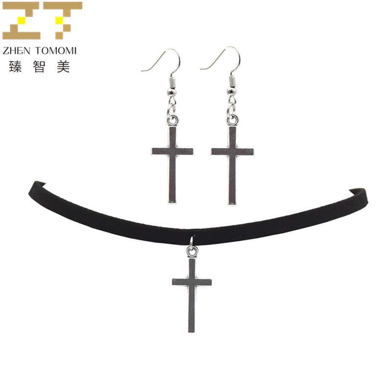 2019 mode noir velours cuir Bijoux Vintage rétro croix Choker collier/Drop boucles d'oreilles pour les femmes Bijoux ensembles à la mode fête