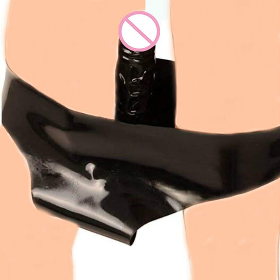 Secret G-String Underwear Latex Rubber Remote Control Panties With Penis,Strap On Penis Chastity Belt Underpants For Adult