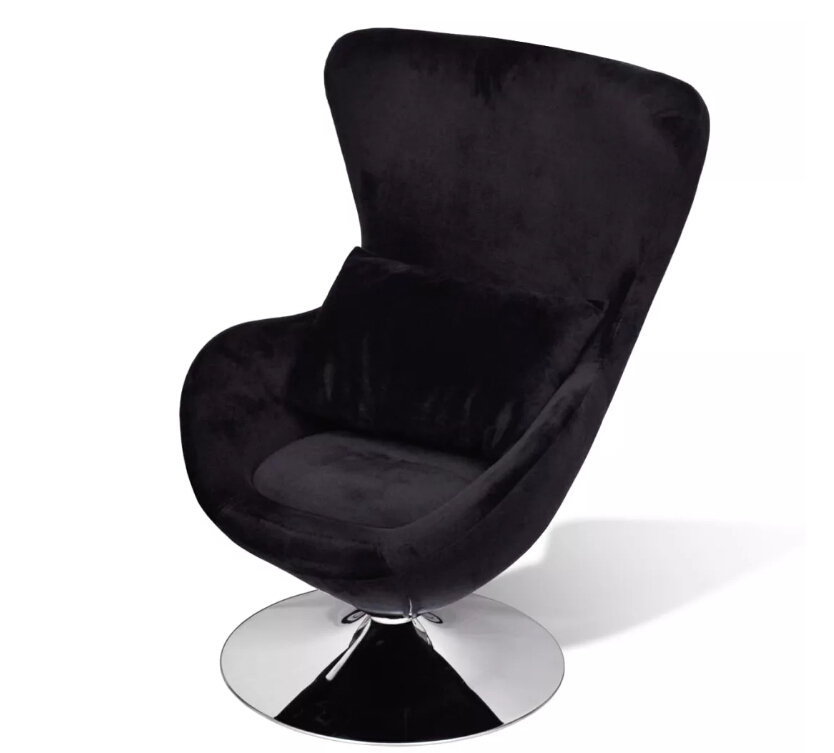 VidaXL Black Upholstered Single Chair Soft Living Room Sofas Freely Over 360 Degree Rotate Chair For Home Or Office
