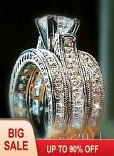 Moda biżuteria 6mm księżniczka cut 5A cyrkon kamień 14KT białe złoto wypełnione 3-in-1 pierścionek zaręczynowy ślub pierścień zestaw dla kobiet rozmiar 5-11 tanie tanio Pierścionki Obrączki ślubne Klasyczny Kobiety Z wystającym oczkiem Cyrkonia zaręczyny Serce vecalon 14KT GOLD FILLED