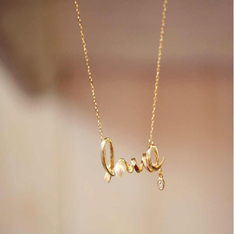 2018 Moda Pingente de Pérola Colar De Ouro Mulheres Carta de Cristal de Prata Colares Mulheres Gargantilha Colar de Jóias Cadeia Feminina Coupl
