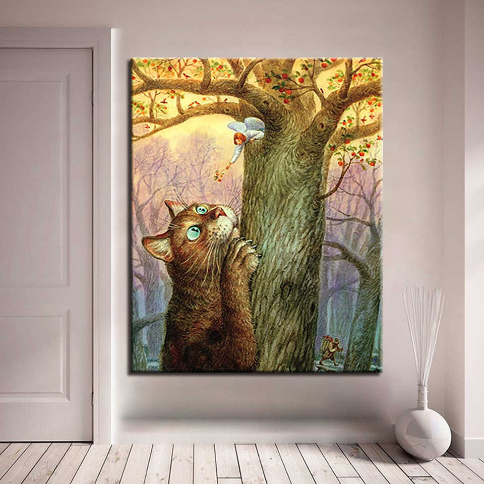 Animal Cat And The Angel Children Picture By Numbers DIY Painting Kits Hand Paited On Linen Canvas Modern Home Decor Wall Art