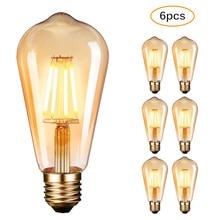 6 حزمة LED لامبادينا خمر اديسون LED لمبات E27 4 واط لمبات الشعيرة برغي اديسون Led لمبات الإضاءة LED لمبات الدافئة الأبيض 2700K
