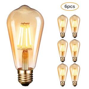 Image 1 - Светодиодная лампа Эдисона E27, 4 Вт, 2700 к, 6 шт./упаковка