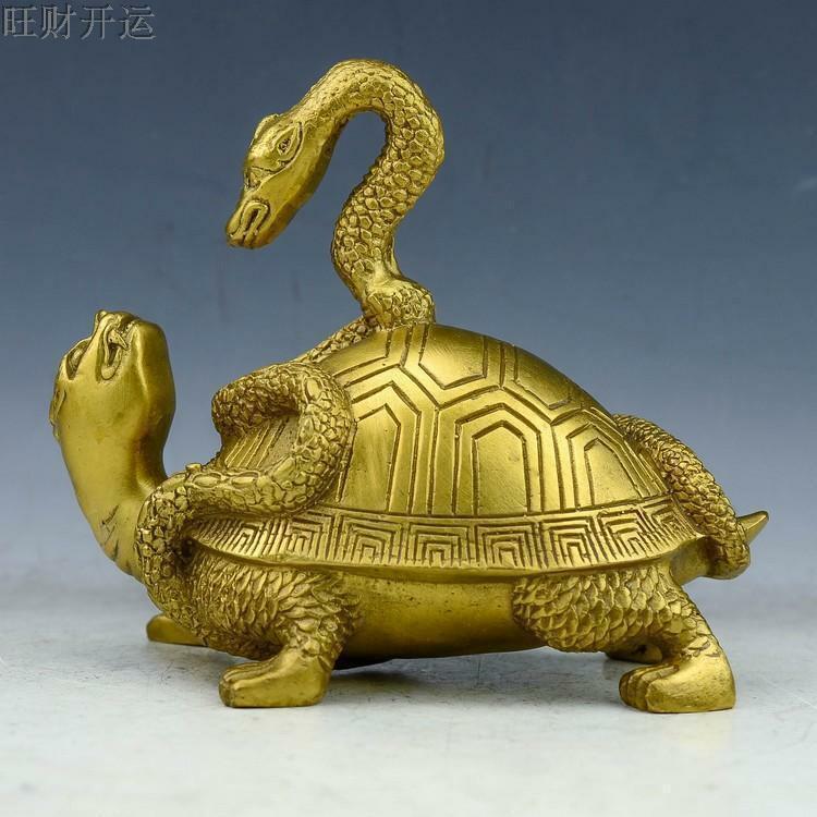 Laiton chinois fait à la main Fengshui Animal tortue tortue serpent petite Statue