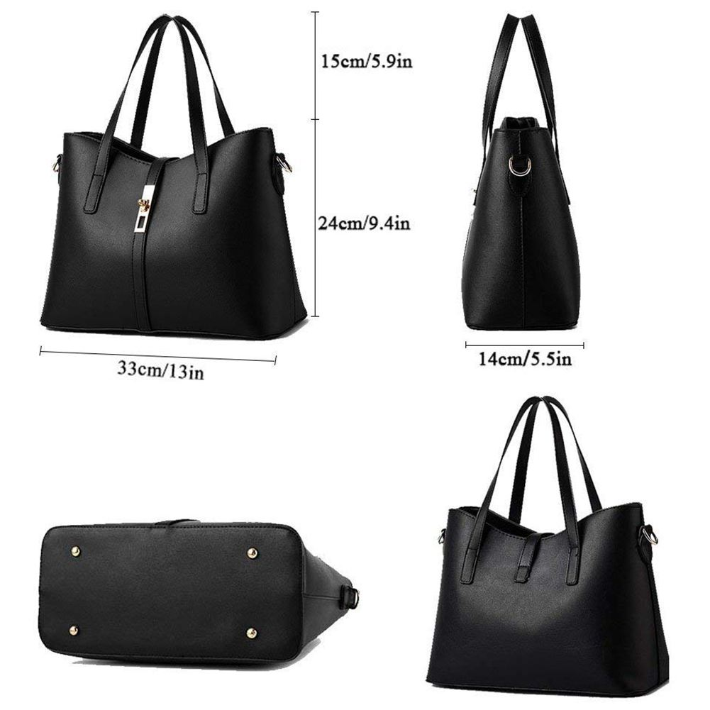 Fashion Women's PU Leather Handbag Shoulder Bag Purse Card Holder 4pcs Set Tote 1