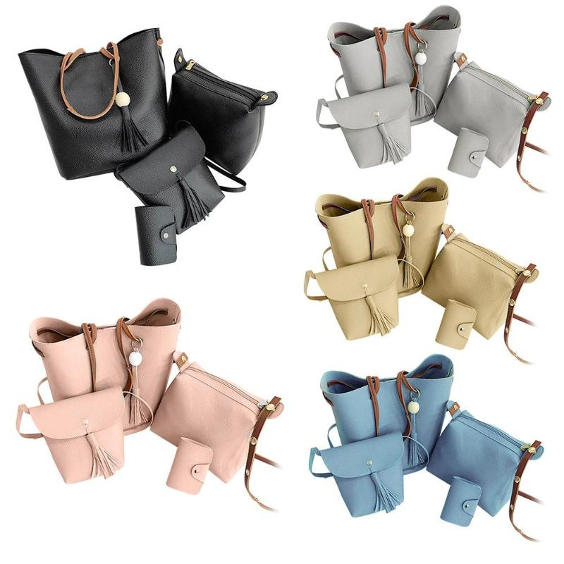 4pcs/set Women Bag Set Top-Handle Big Capacity Female Handbag Fashion Shoulder Bag Purse Ladies PU Leather Crossbody Bag