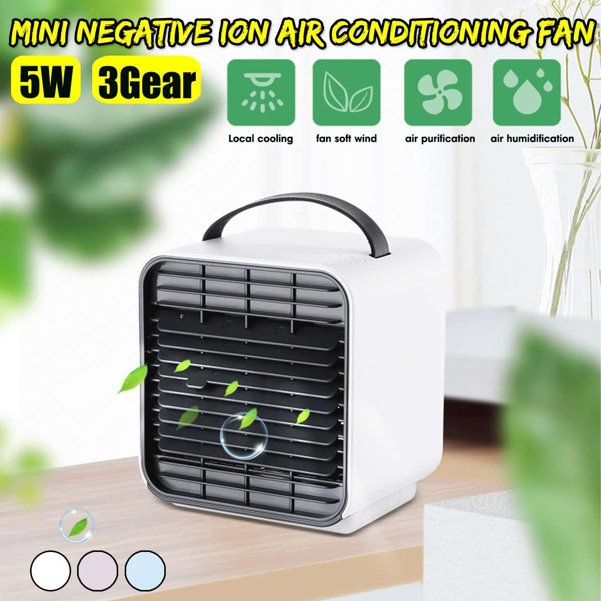 Mini Negative Ion air Conditioning Fan Air Cooler Household Cooler Office Water Cooling Fan Blue/Pink/White 5W 3Gear 2000mAhMini Negative Ion air Conditioning Fan Air Cooler Household Cooler Office Water Cooling Fan Blue/Pink/White 5W 3Gear 2000mAh