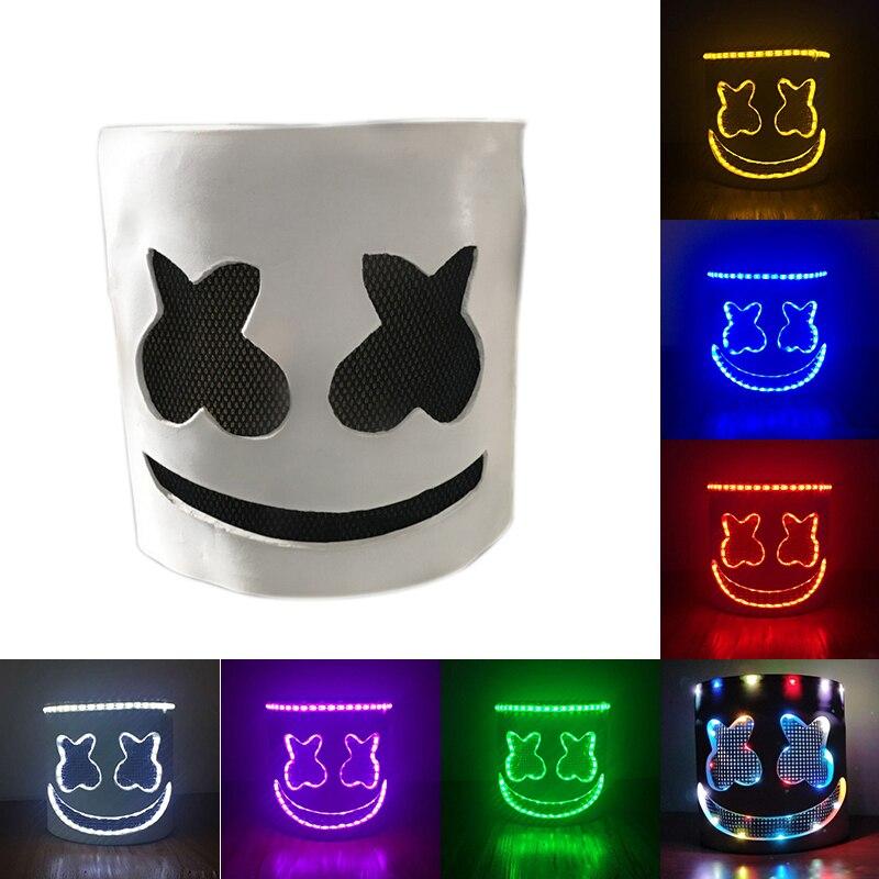 Tête pleine lumière LED MarshMello DJ masque casque Halloween Cosplay masque Bar musique accessoires brillent dans l'obscurité ou horreur fête masques