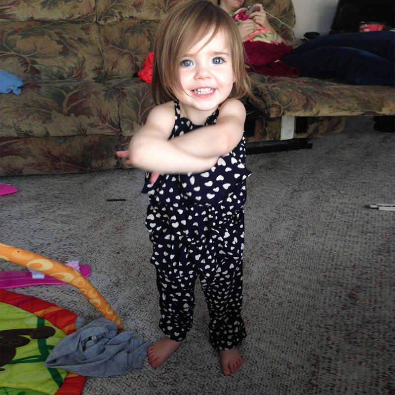 Детские комбинезоны для маленьких девочек; комплекты стильных комбинезонов на бретельках с принтом сердца; брюки с поясом; YJS Dropsh