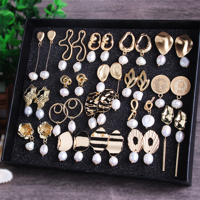 Pendant earrings Geometry Lrregular Freshwater Pearl Earrings Gold Wedding 1 pair Metal Geometric Gifts Pearl Gold
