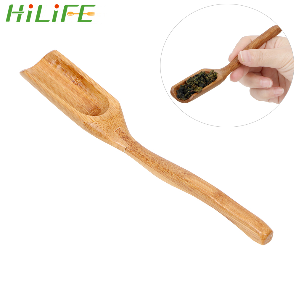 HILIFE Natural Bamboo Tea Scoop Delicate Spoon for Tea Honey Sauce Suger Coffee Retro Style Tea Leaves Chooser Holder