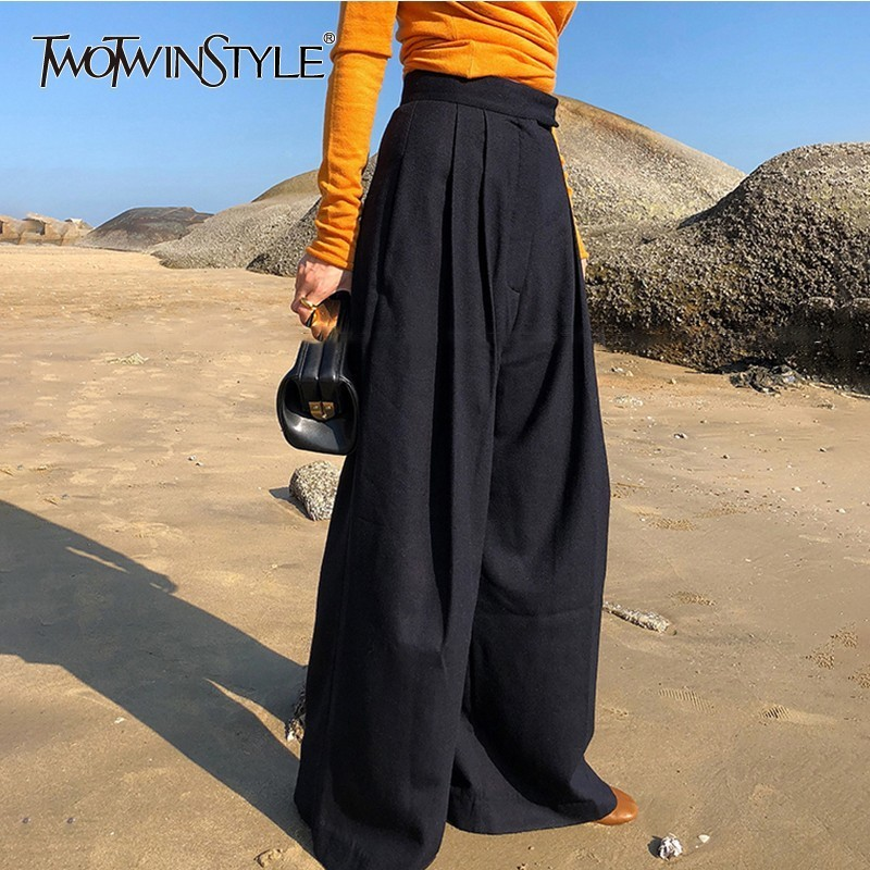 TWOTWINSTYLE Casual Wide Leg Pants Female High Waist Black Long Wool Trousers For Women Korean Fashion Autumn 2019 Clothes New