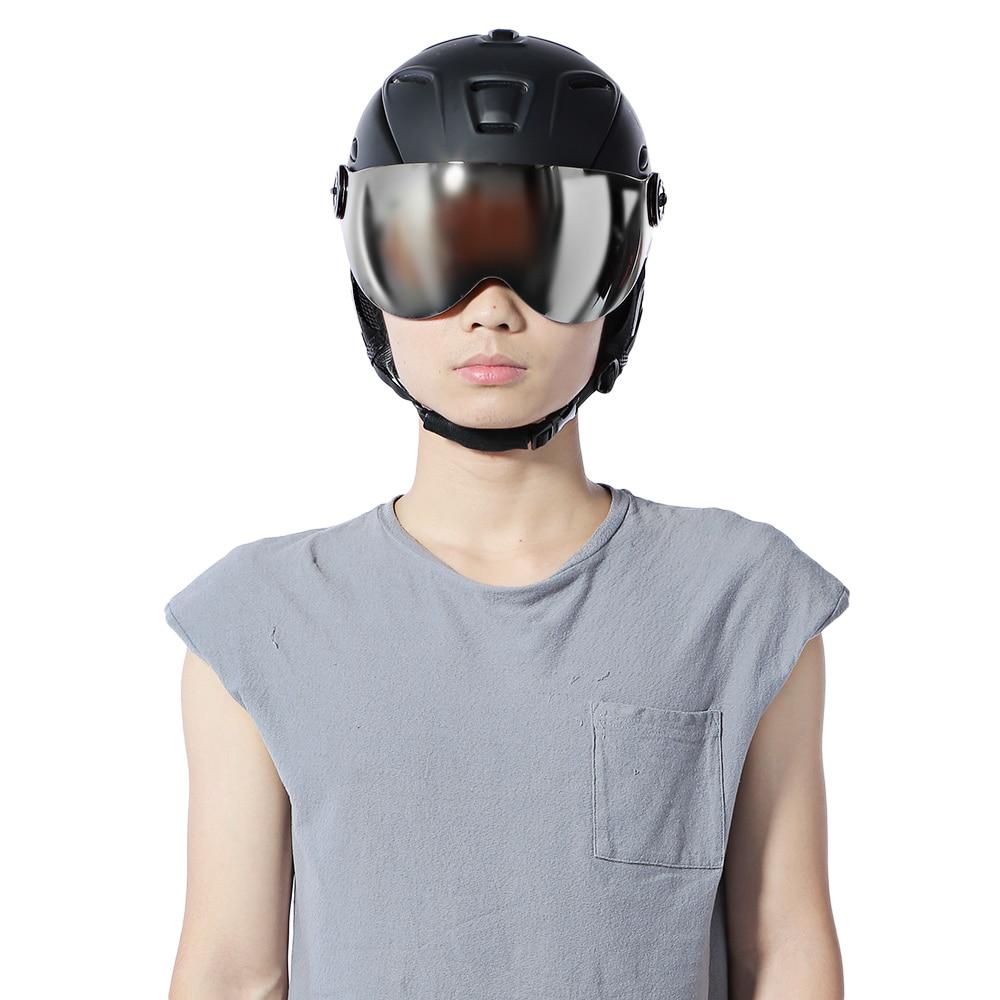2-en-1 casque de Ski entièrement moulé adulte lunettes de protection casque de Ski de sécurité Skateboard Ski Snowboard casque Sports de neige
