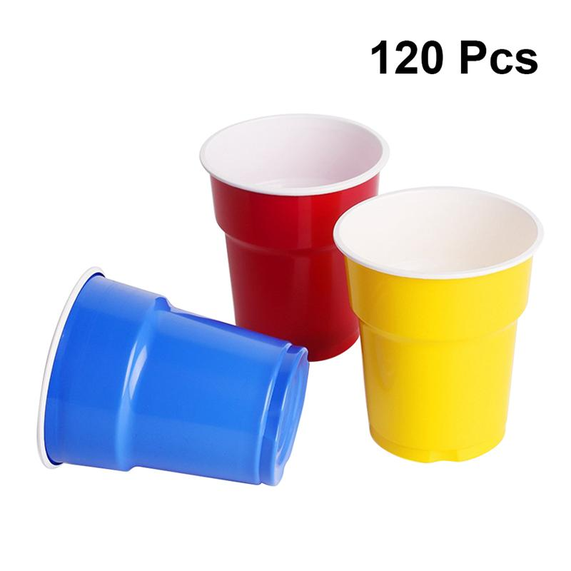 Drinking-Cup Disposable-Cup Plastic-Cup Colorful Party-Supplies 200ml 120pcs Assorted-Colors