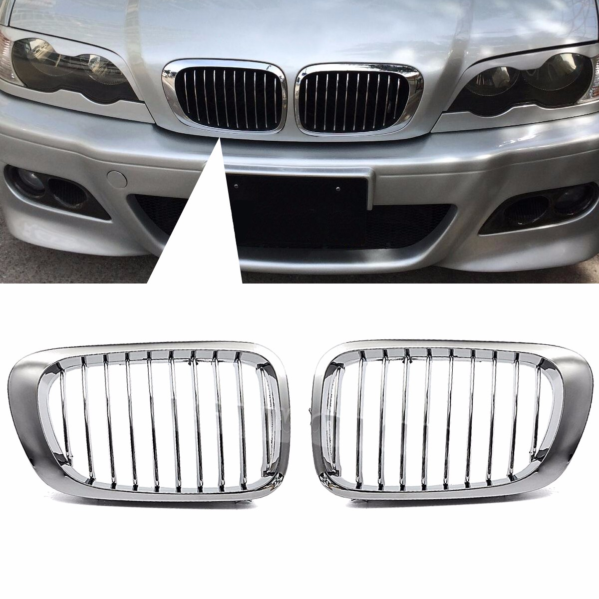 For BMW E46 325Ci 330Ci <font><b>3</b></font>-Series M3 2 Doors 1999 <font><b>2000</b></font> 2001 2002 2003 2004 2005 2006 Pair Chrome Car Front Kidney Grille Grill image