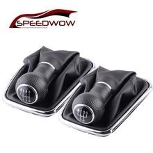 цена на SPEEDWOW Car Manual 5/6 Speed Shift Knob Shifter Boot Cover PU Leather For Volkswagen VW 2004-2009 Golf 4 IV MK4 GTI R32 Jetta