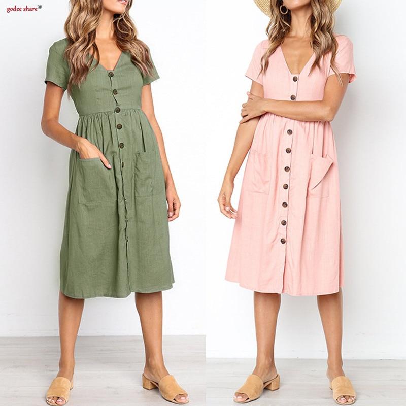 Summer Femme Clothes Short Sleeve Women Dress Solid V Neck Pocket Button Dresses -8157