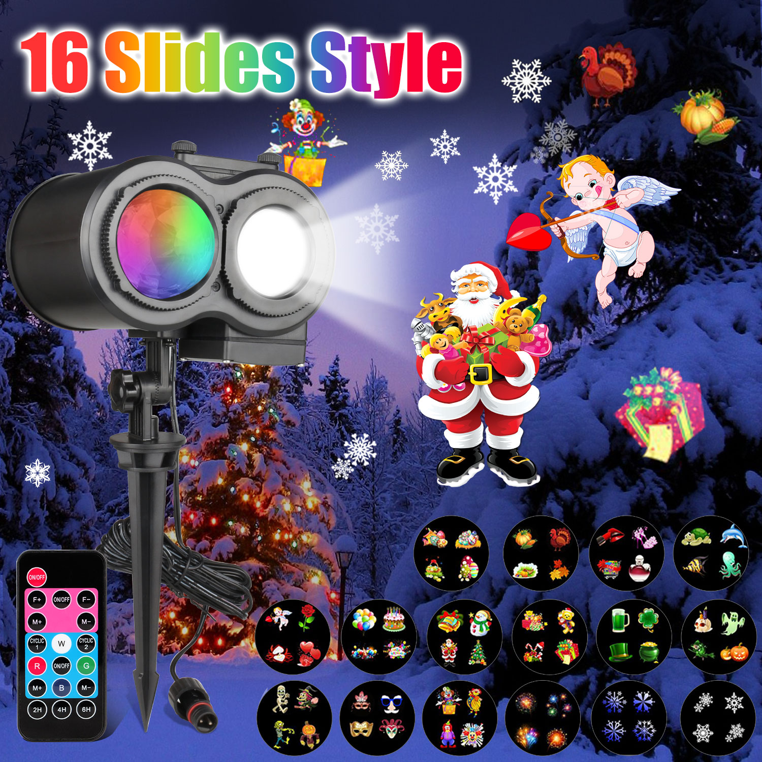 16 Slides Pattern Christmas Double Head Laser Projector
