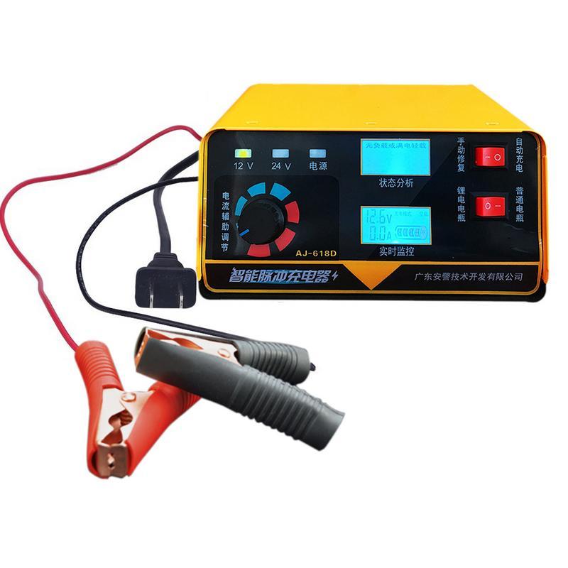 Chargeur de batterie de voiture 12 V 24 V complètement automatique chargeur de batterie de voiture électrique Type de réparation d'impulsion intelligente 6AH-400AH pour moto