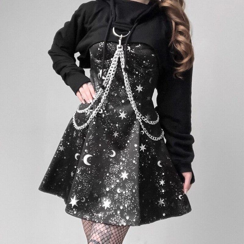 Summer Women Print Elegant Black Dresses Gothic Fashion Backless Spaghetti Strap Dress Sexy Harajuku A Line Dress