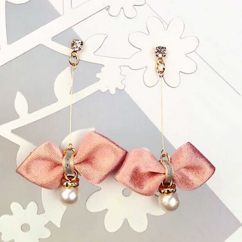 Gray green Women Allergy Free Girls Korean Asphalt 1Pair Earring Pearl Pink Drop Shipping Bowknot Wine red Long