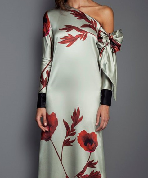 Women Dress Flower Long Sleeve Vestido Elegant Casual Slim Vintage Party Maxi Dress in Dresses from Women 39 s Clothing