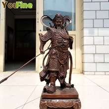 Bronze Kowloon Battle Guan Gong Chinese Warrior Battle Elephant Pure Copper Sculpture Zhongyitang Guan Gong Temple Decoration gong show