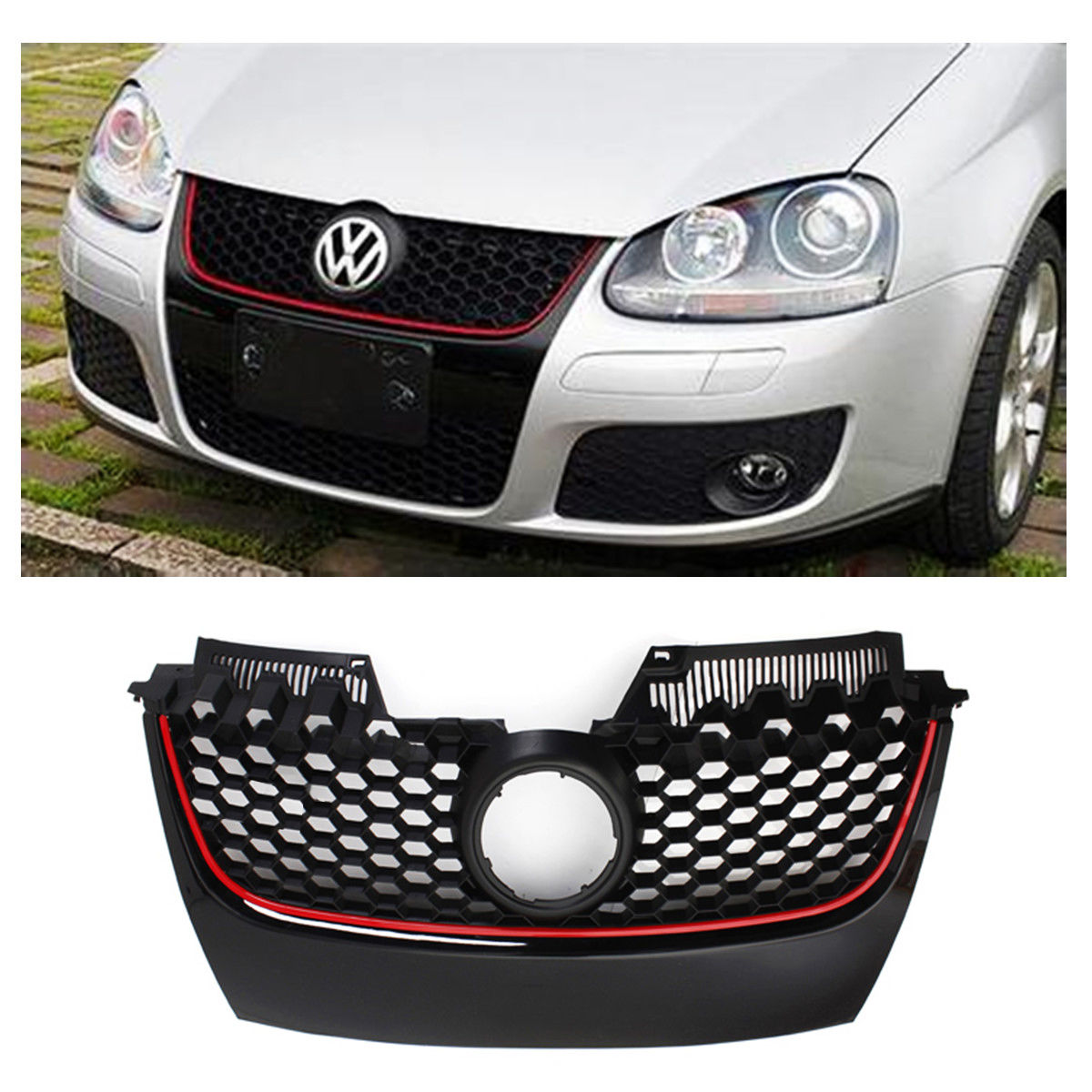 Car Red Strip Front Center Grille Bumper Grill Black with Red Trim For VW for Jetta GTI GLI MK5 2006 2007 2008 2009Car Red Strip Front Center Grille Bumper Grill Black with Red Trim For VW for Jetta GTI GLI MK5 2006 2007 2008 2009