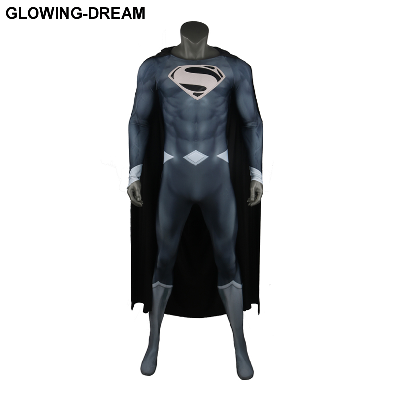 Glowing Dream Top Quality Black Superman Cosplay Costume With Relief Logo Muscle Shade Black Superman Suit With U Zipper Movie Tv Costumes Aliexpress