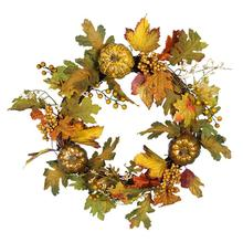 Halloween Maple Leaf Pumpkin Wreath Front Door Decoration Fall Autumn  Wreath Wall Hanging Decor Ornaments