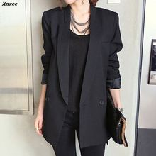 2019 Solid Long Style Black Women Jacket and Blazer Female Notched Collar Asymmetrical Chic Ladies Blazers feminino Xnxee