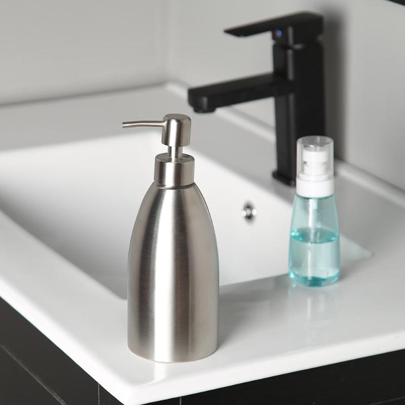 US $21.55 25% OFF|500ML Stainless Steel Soap Dispenser Kitchen Sink Faucet  Bath Liquid Shampoo Box Soap Container-in Liquid Soap Dispensers from Home  ...