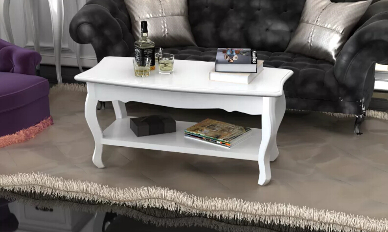 VidaXL Coffee Table With 2 White MDF Shelves Made By High Quality Solid Pine Wood Suitable For Home Office 60629