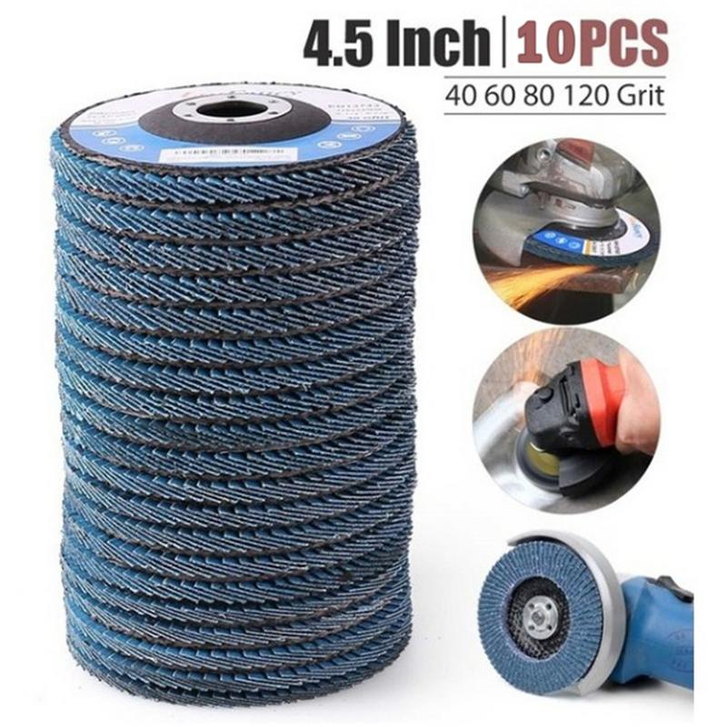 10Pcs 4.5'' 115MM Metal Sanding Flap Discs Angle Grinder Wheels Blades 40/60/80/120 Grit Professional Flap Discs