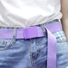 Fashion Canvas Belt for Women Casual Female Waist with Plastic Buckle Long Dress