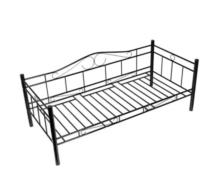 Black Single Day Bed Metal 90 X 200 Cm Robust Metal Lovely Nostalgic Style Day Bed Single Bed Without MattressBlack Single Day Bed Metal 90 X 200 Cm Robust Metal Lovely Nostalgic Style Day Bed Single Bed Without Mattress