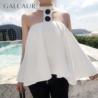 GALCAUR Spring Off Shouler Sexy Blouse Women White Sleeveless Button Loose Shirt Female Korean 2019 Fashion Chlothes New