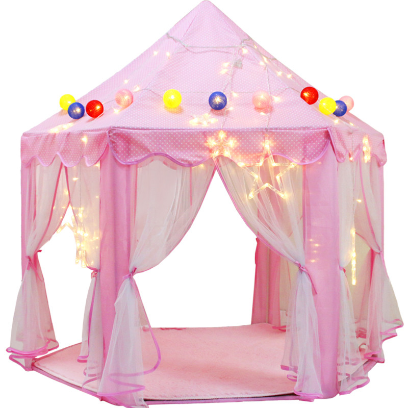 140*135CM Large Princess Castle Tulle Child House Game Selling Play Tent Yurt Creative Develop Outdoor Indoor Lights Balls Toys