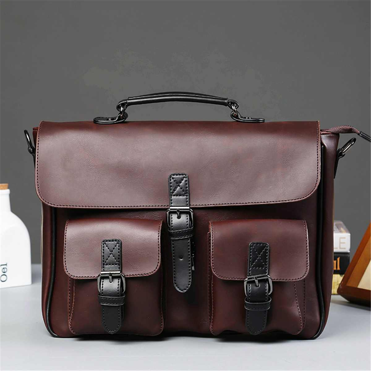 Men Leather Black Briefcase Business Handbag Messenger Shoulder Bags Male Vintage Shoulder Bag Men's Large Laptop Travel Bags