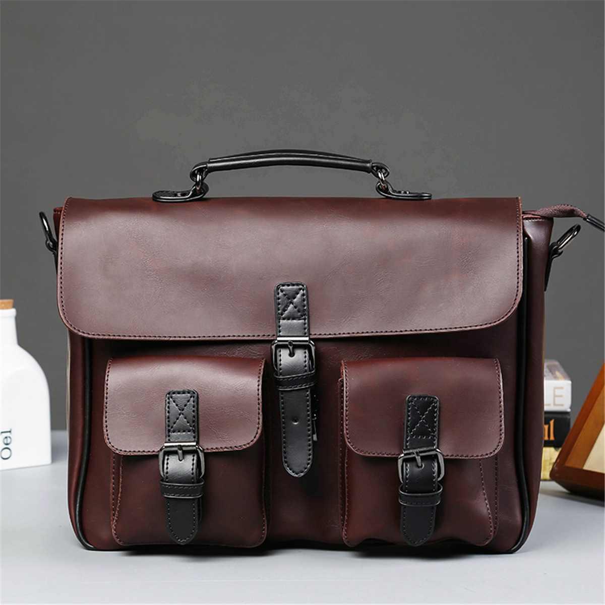 Men Leather Black Briefcase Business Handbag Messenger Shoulder Bags Male Vintage Shoulder Bag Men's Large Laptop Travel Bags