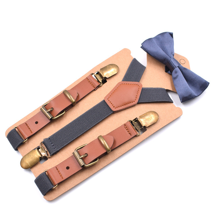 2019 New Children's 3 Clip Fashion Y-shaped Strap Clip Casual Suspenders With 2.0 Leather Bow Tie Suit Fashion Personality