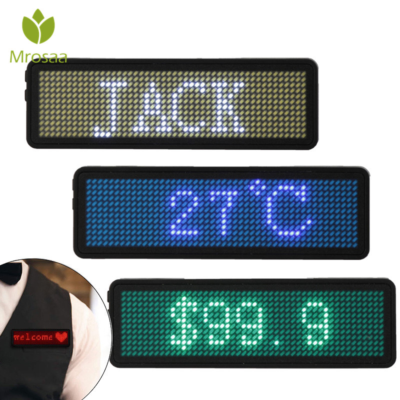 4 Color Scrolling Message Led ID Name Badge Holder Board 48x12 Dots Single Color Rechargeable Led Digital Name Tag For Event