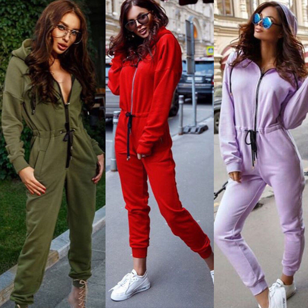 Brand New 2020 Fashion Women Casual Hoodie Long Sleeve Solid Zipper Jumpsiut Romper Long Sleeve With Hat Pocket S M L XL