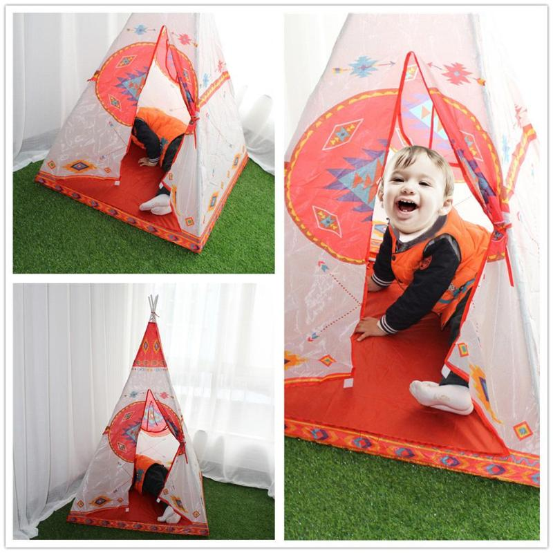 half off 92edf 92755 US $16.11 20% OFF|Kids Tents Foldable Indian Pattern Tent Children Cloth  Funny Sun Shades Indoor Game Playhouse Safe Small Tent for Children Play-in  ...