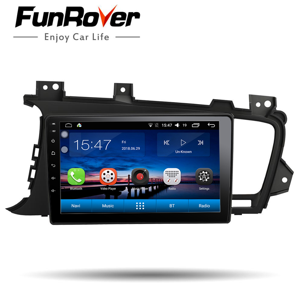 Funrover Car Radio Multimedia 9''Android8.0 2 Din Car DVD Audio Player For Kia K5 Optima 2011-2015 stereo headunit gps navi wifi