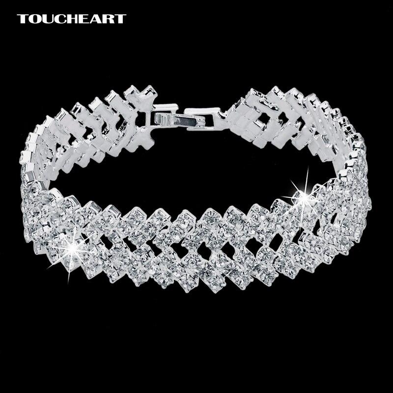 Cristal de luxe Bracelets pour Femme couleur argent Bracelets & Bracelets Femme bijoux de mariée de mariage 2018 Bracelet Vintage SBR150218