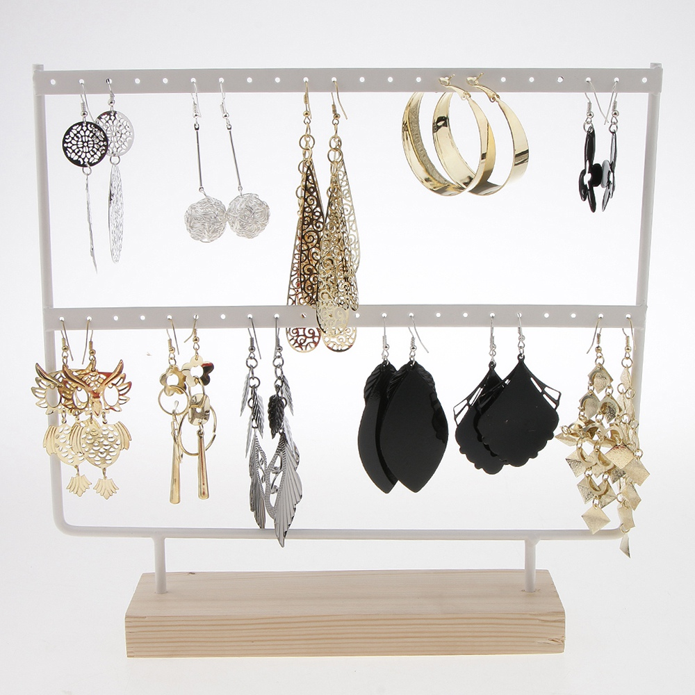 Wood 44 Holes Earrings Organizer Holder Necklaces Rack 2 Layers Jewelry Display Stand Jewelry Accessories Jewelry Findings