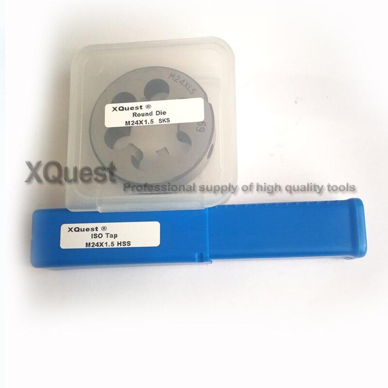 New 1pc HSS Machine M24 X 1.75mm Plug Tap and 1pc M24 X 1.75mm Die Threading Too