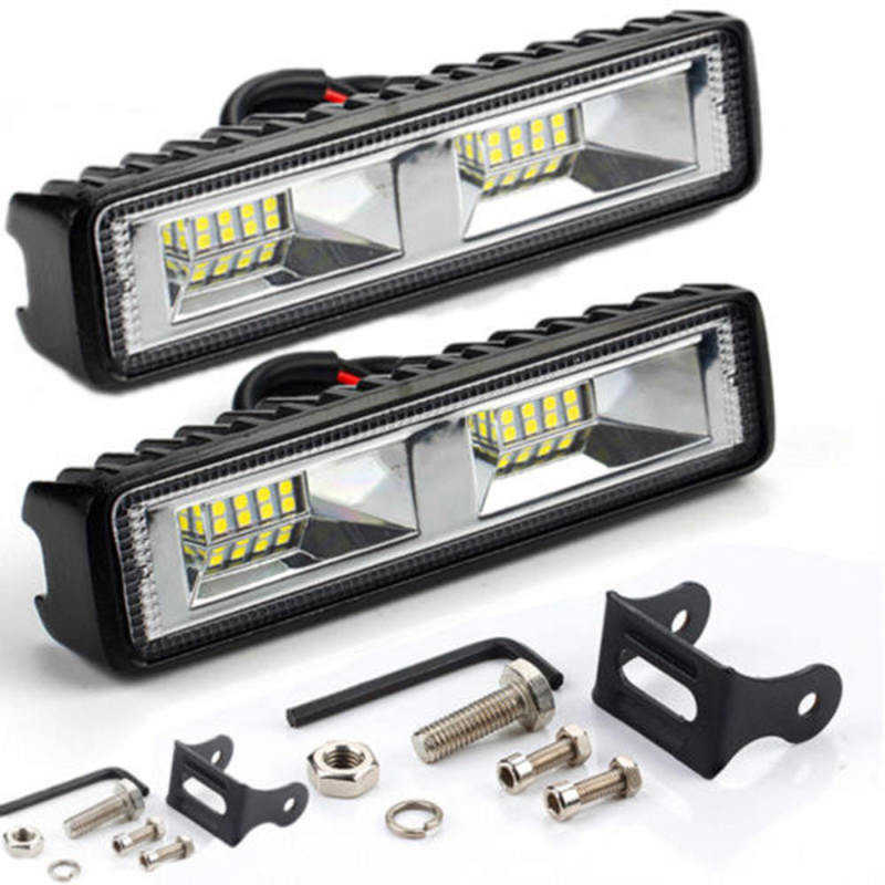 2x 48W 12V 16LED Car Work Light Bar Spot Beam Driving Fog Lamp for Work Driving Off Road Boat Car Tractor Truck Auto LED